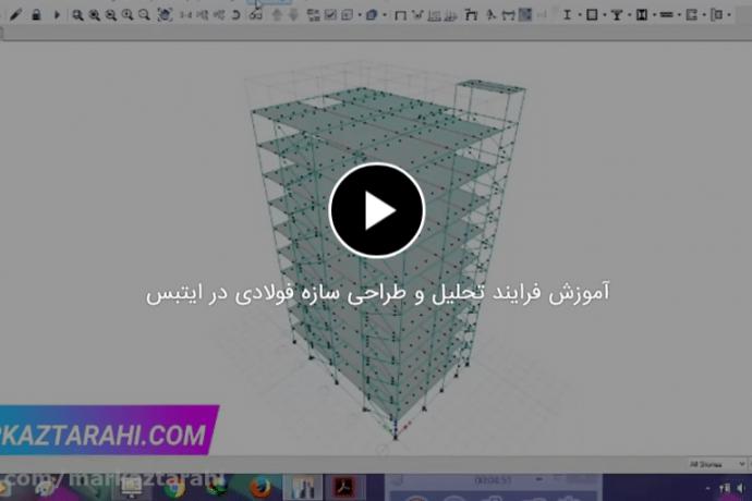 آموزش فرایند تحلیل و طراحی سازه فولادی در ایتبس
